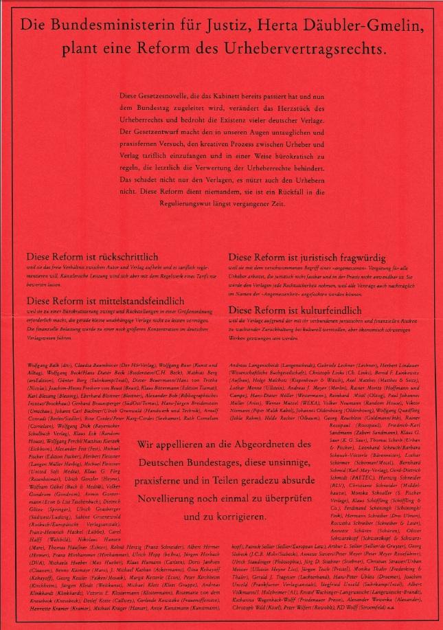 Börsenverein Kampagne Urhebervertragsrecht